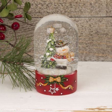 Snowman Dome Christmas Snow Globe with Painted Red Base